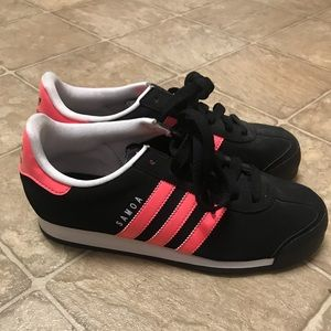 Adidas Samoa black and hot pink sneakers